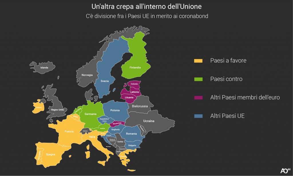 Quali Paesi dell'Unione Europea sono a favore o contro l'emissione dei coronabond?